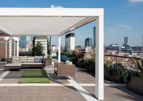 Retractable And Adjustable Motorized Louvered Pergola® Structures For Residential Outdoor Spaces