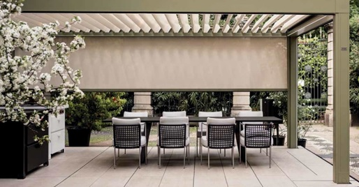 The OPERA Model Louvered Roof Pergola® And NOMO Retractable Fabric Roof  Pergola® Systems Can Be Fitted With Roll Down RASO Screens For Extra  Weather Or Sun ...