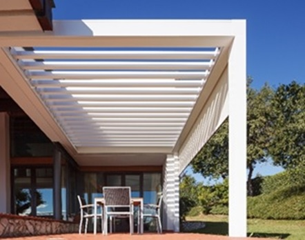 Louvered Pergola roof by Sunair on patio.jpg - Pergola Louvered Metal Roof Structures Retractable Deck & Patio
