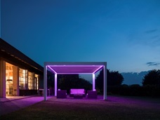 Opera LED strip lighting on Louvered pergola by Sunair Multi color.jpg