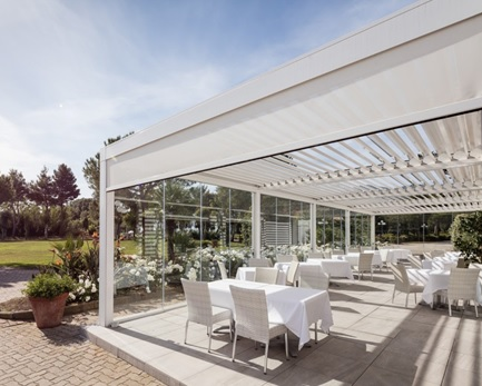 Our OPERA & VISION bioclimatic louvered metal roof PERGOLA® models provides  you with an alternative unique level of control over nature, combining  style and ... - Pergola Louvered Metal Roof Structures Retractable Deck & Patio