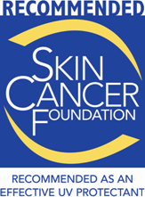 recommended skin cancer foundation logo in blue white and yellow