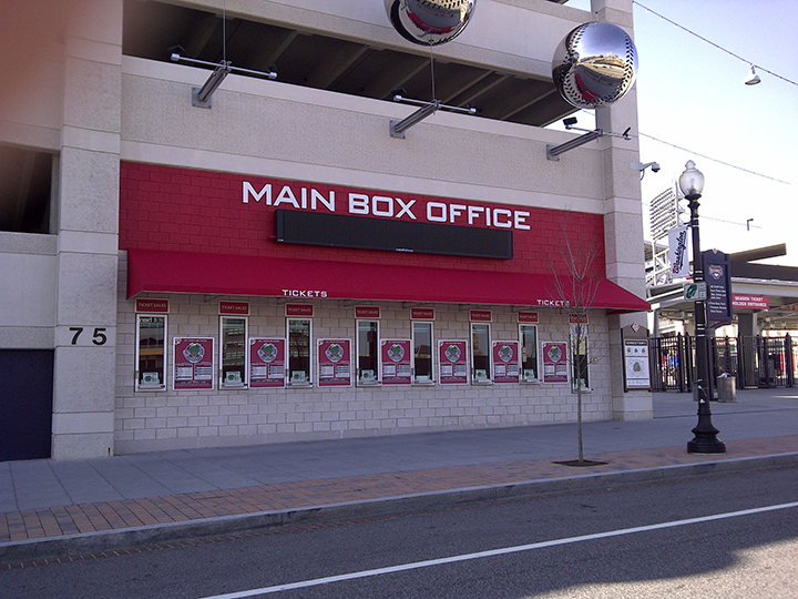 main box office red canopy with ticket purchase windows