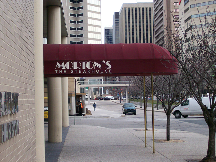 morton's steakhouse red canopy storefront