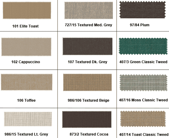 12 swatches of different fabric patterns including elite toast and toffee