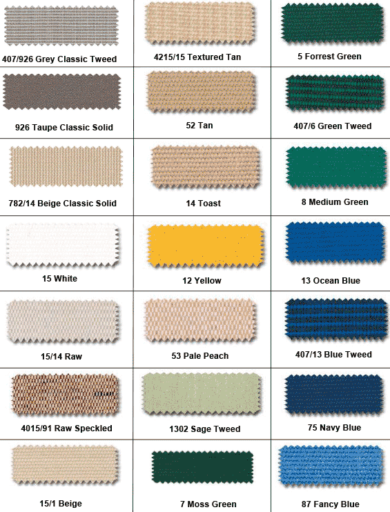 12 swatches of fabric colors including yellow, toast, and pale peach