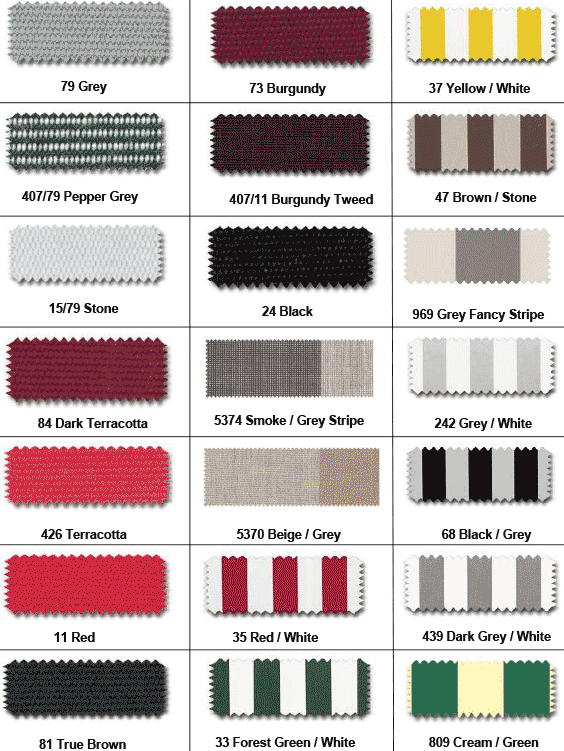 striped and solid colored swatches including burgundy and black/grey