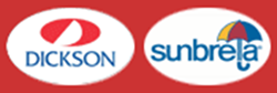 dickson and sunbrela logo in red and white