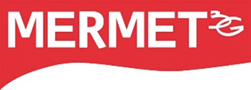 Mermet logo in red and white