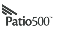 patio 500 logo with three black diagonal lines