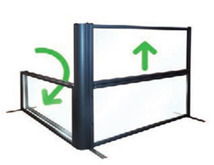 diagram showing the ways a glass divider can fold