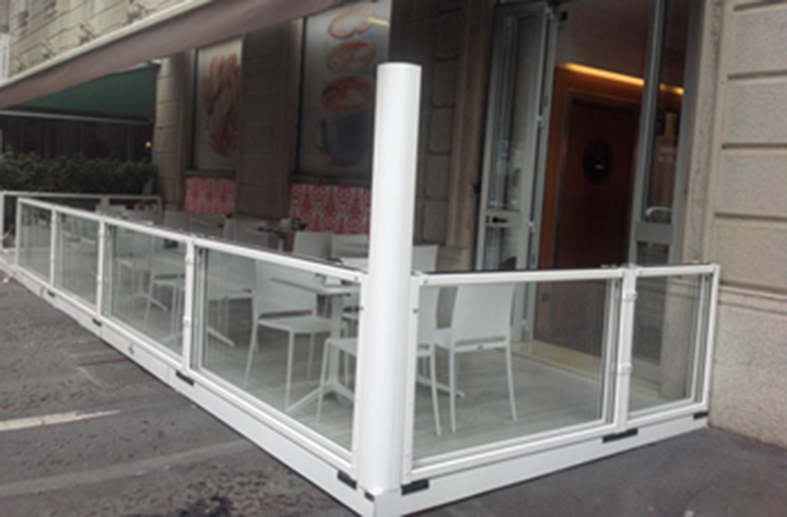 glass divider folded down and awning stretched over