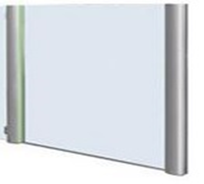 sample of a glass divider with slate cylinders between each glass window