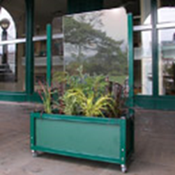 flower green box with glass divider attached