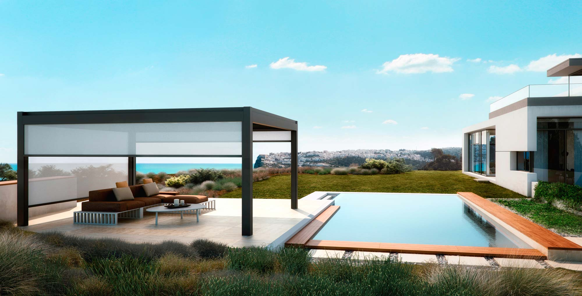An open pegola with solar shades and pool next to house