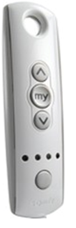 silver remote with up and down arrow and a button that says my