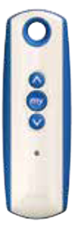 blue and white remote with one channel and up and down arrows