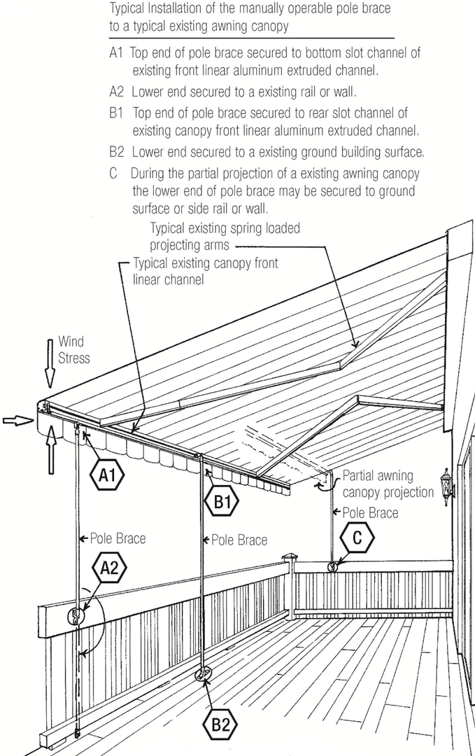 diagram showing typical installation of pole braces