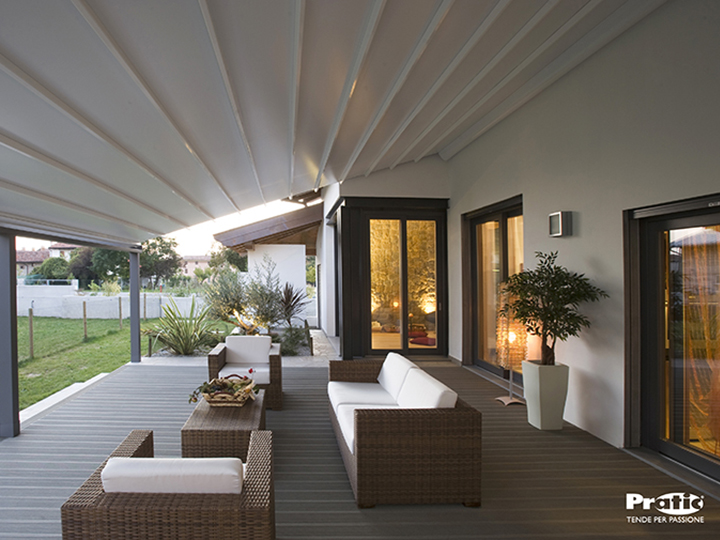 A patio covered by a pergola awning
