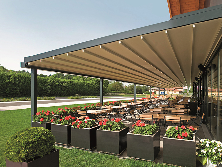 pergola over large seating area with flowers & Pergola® Retractable Roof Systems | Maryland Retractable Awnings