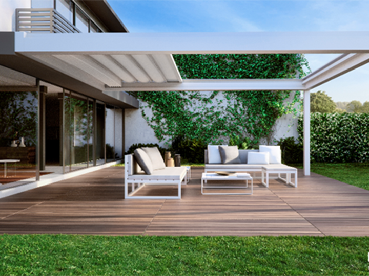 Pergola over an outdoor patio with hardwood flooring