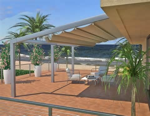 wooden awning slanted down next to the beach