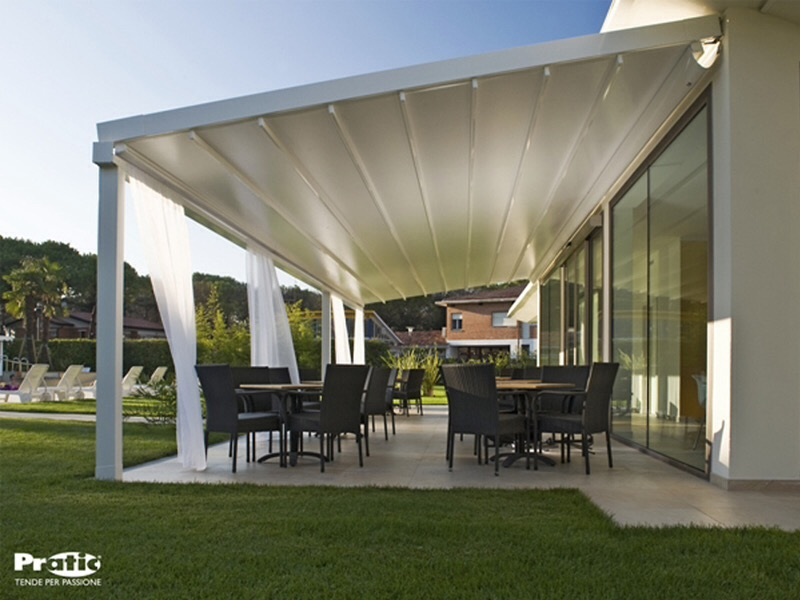 Exceptionnel White Fancy Awning With Flowing Curtains And Large Glass Doors, LEVEL, Wall  Mounted ...
