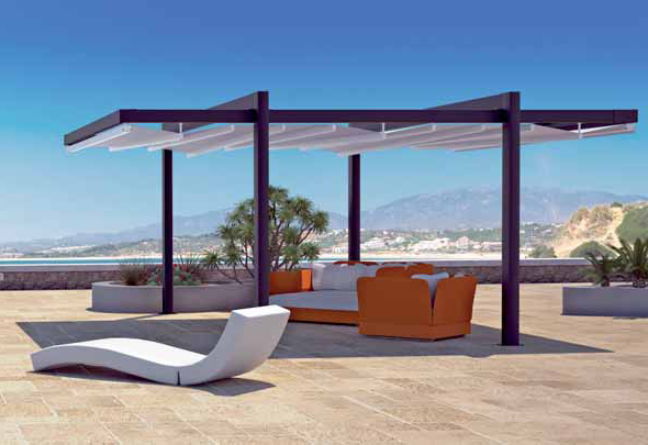 open air pergola covering orange couches and white loungers