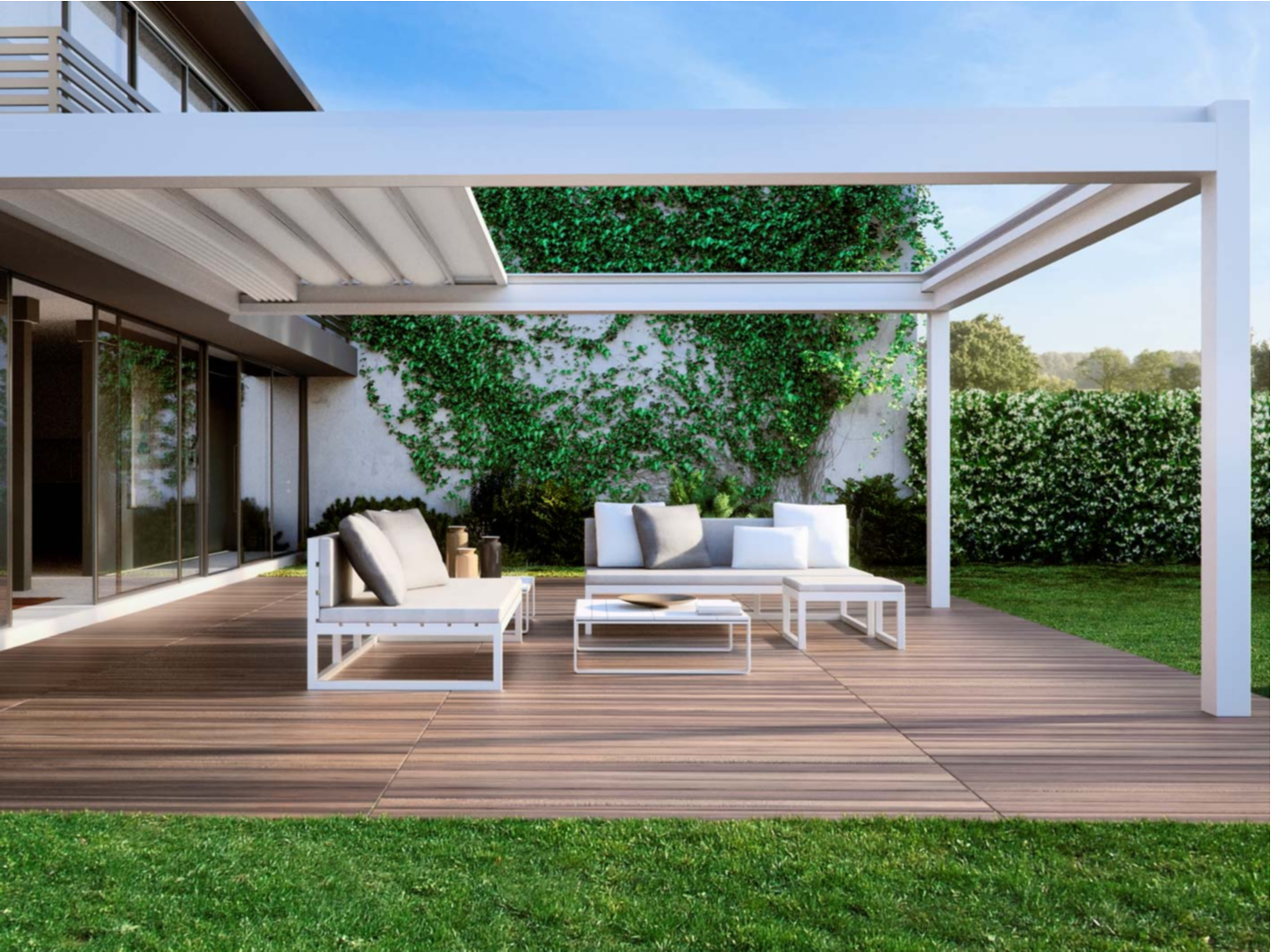 Beautiful Luxurious Patio With White Retractable Awning Over Head
