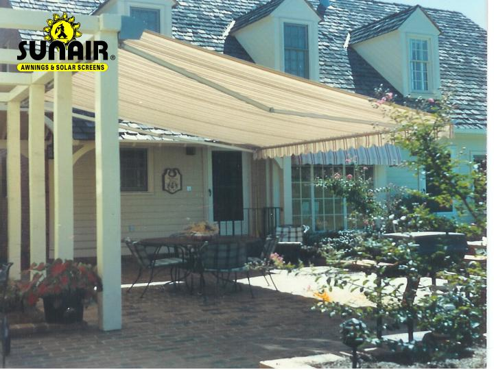 Retractable Awning Mounted To Wood Truss By Sunair.
