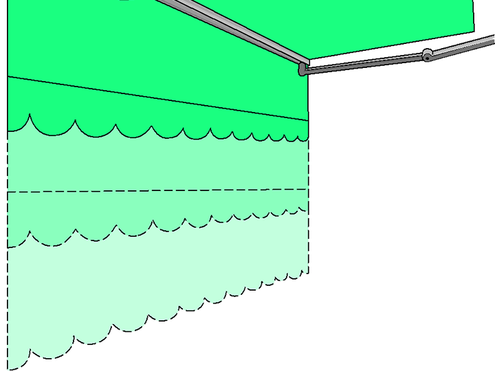 clip art style image of the options for extended awning lengths