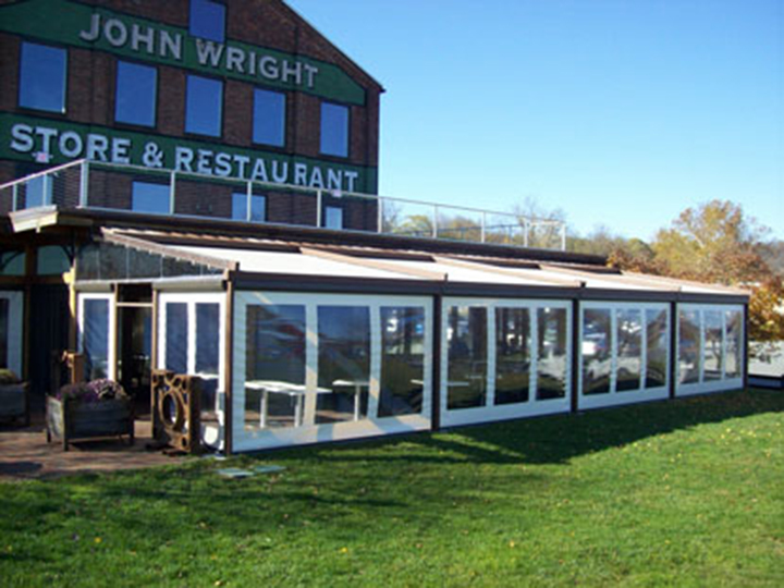 John Wright Store & Restaurant outside view of enclosed pergola