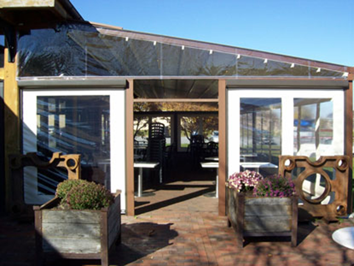 outside view of pergola looking in to the seating area
