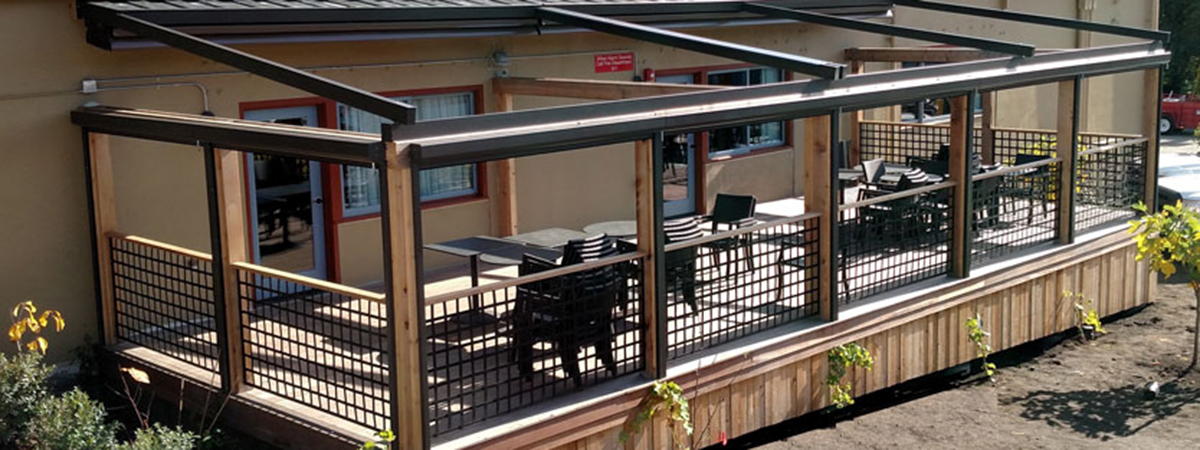 pergola open and side roller windows completely up so the deck is exposed