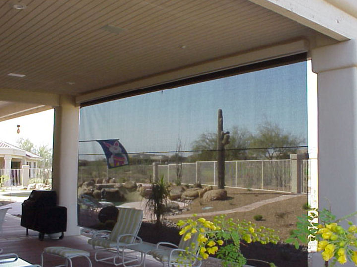 ... Screen Shade Pulled Down With A View From The Inside Of The Patio  Looking Out ...